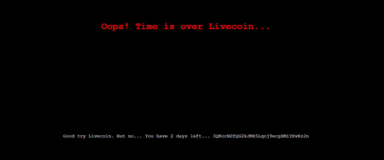 Livecoin Hacked Message