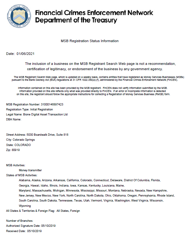 BiONE FinCEN Document