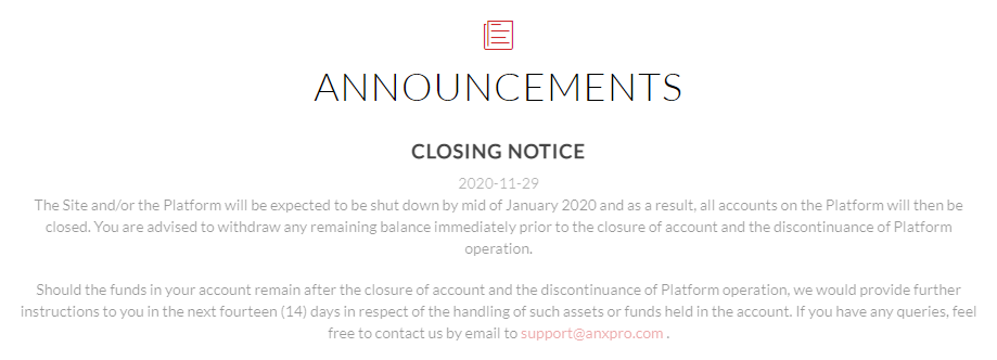 ANXPro Closing Message