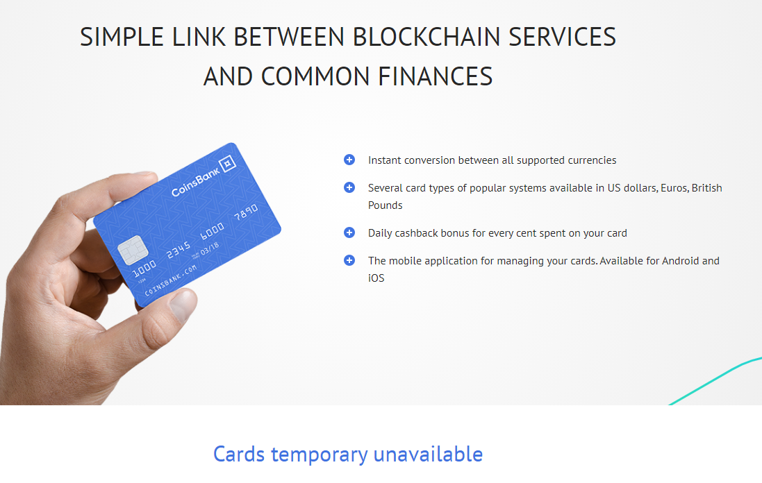CoinsBank Card Temporary Unavailable