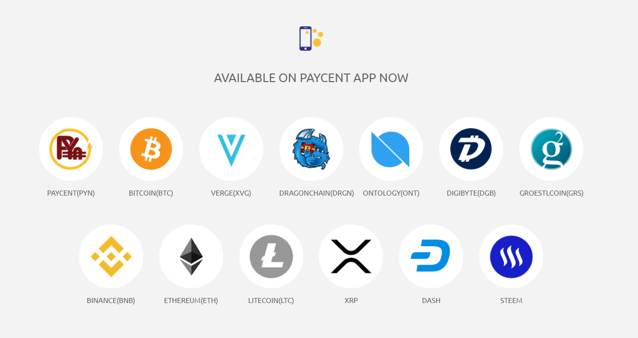 Paycent Card Supported Cryptos