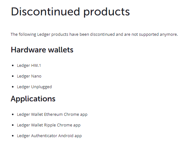 HW1 Ledger Wallet Discontinued Products