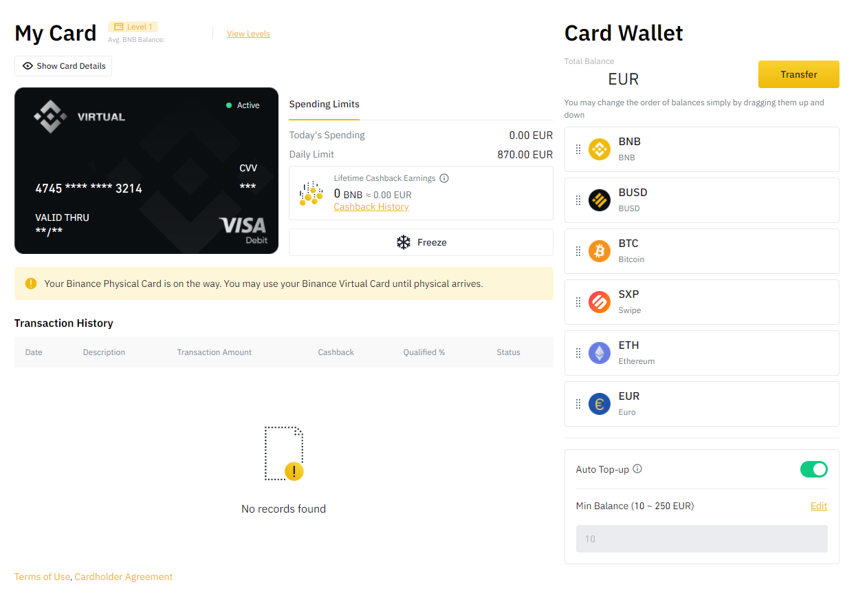 Binance Card Interface