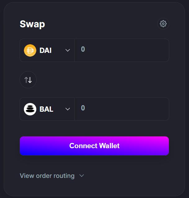 Balancer Exchange Trading Interface