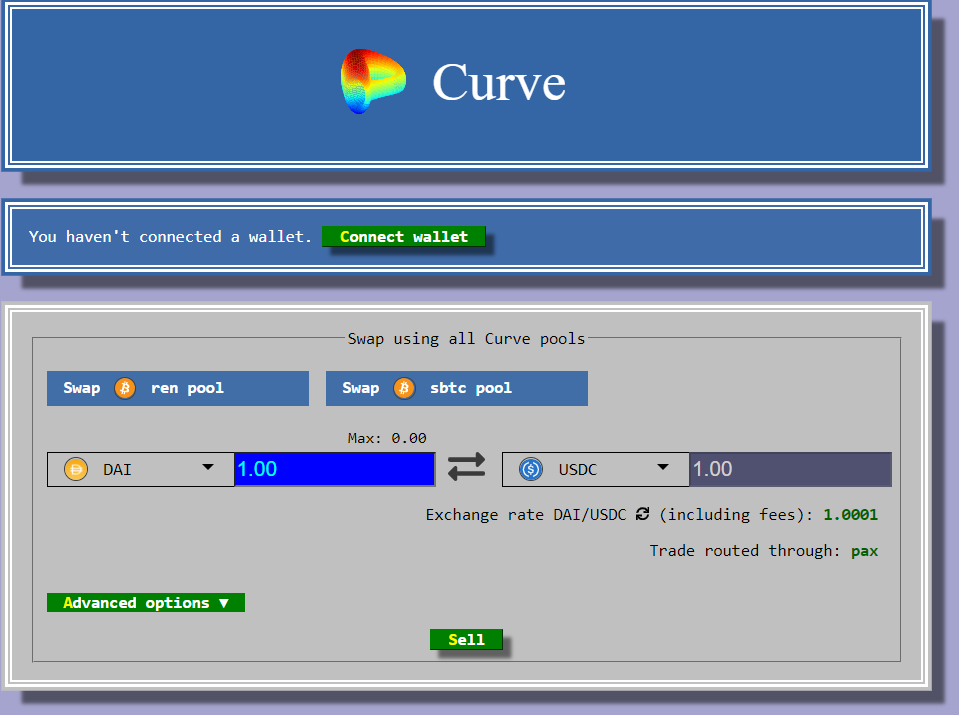 Curve Finance Exchange Trading Interface