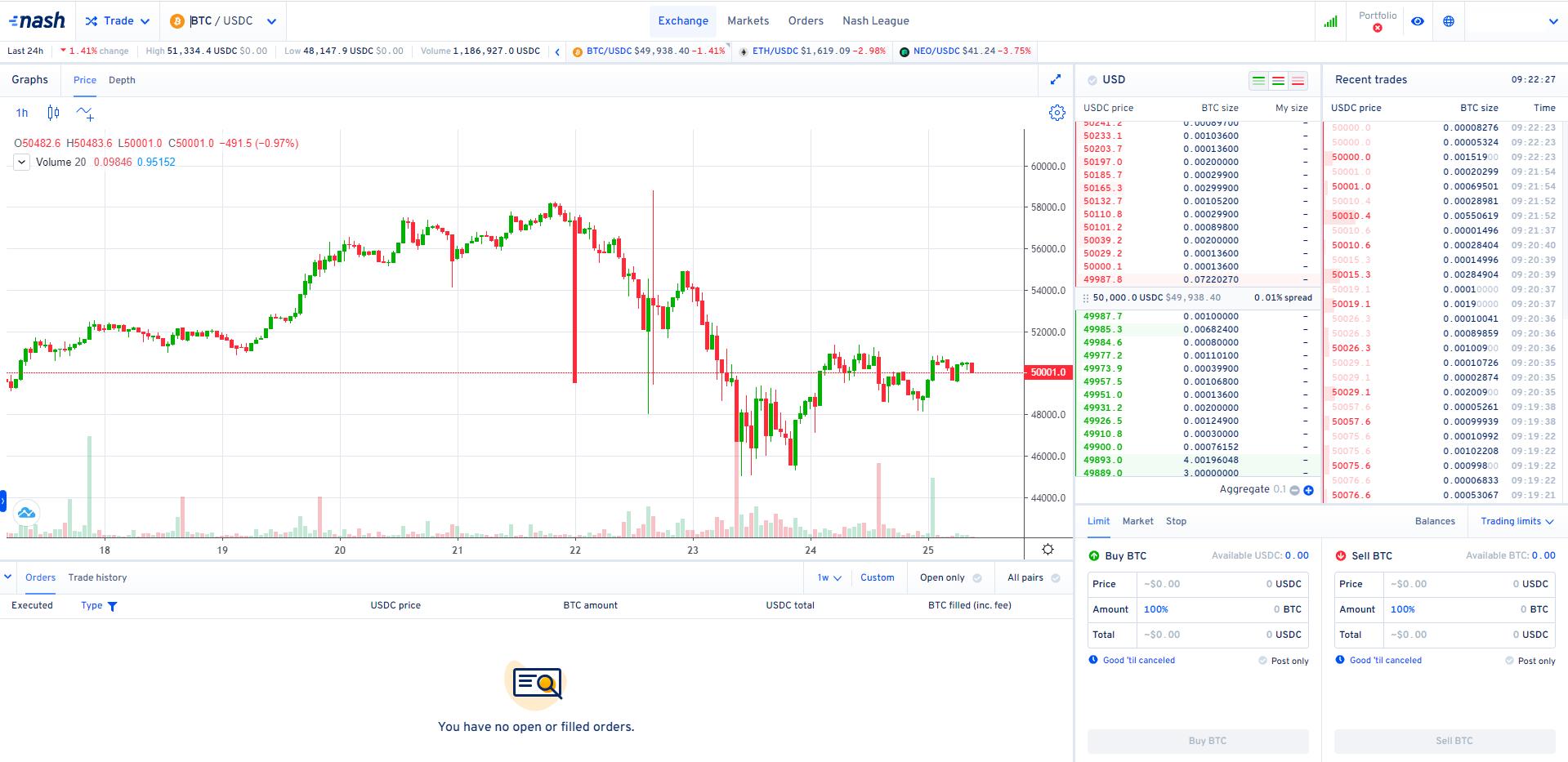 Nash Exchange Trading View