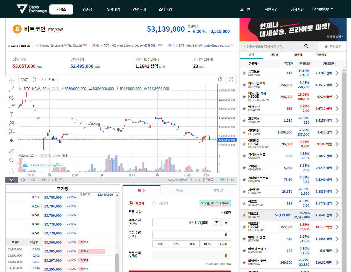 Oasis Exchange Trading View