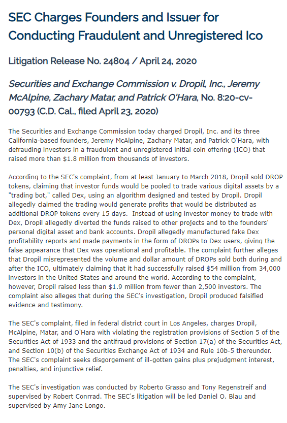 Dropil SEC Press Release
