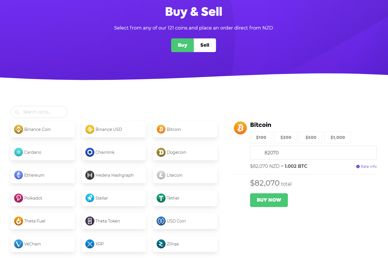 Easy Crypto Exchange Purchase Interface
