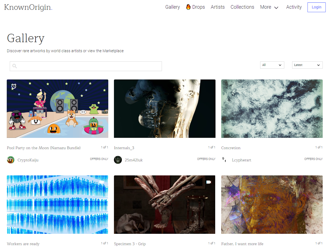 Known Origin NFT Gallery Browsing Mode