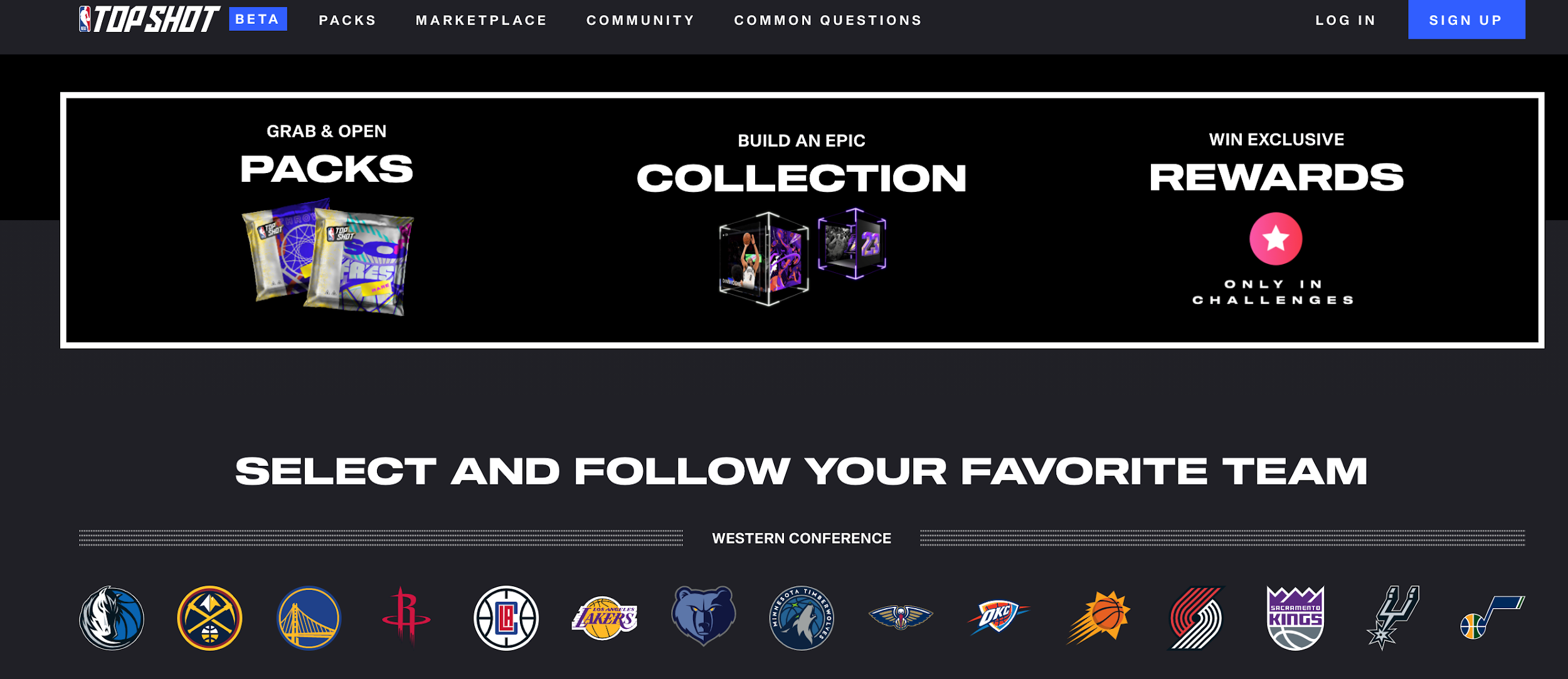 NBA Top Shot Marketplace General Layout