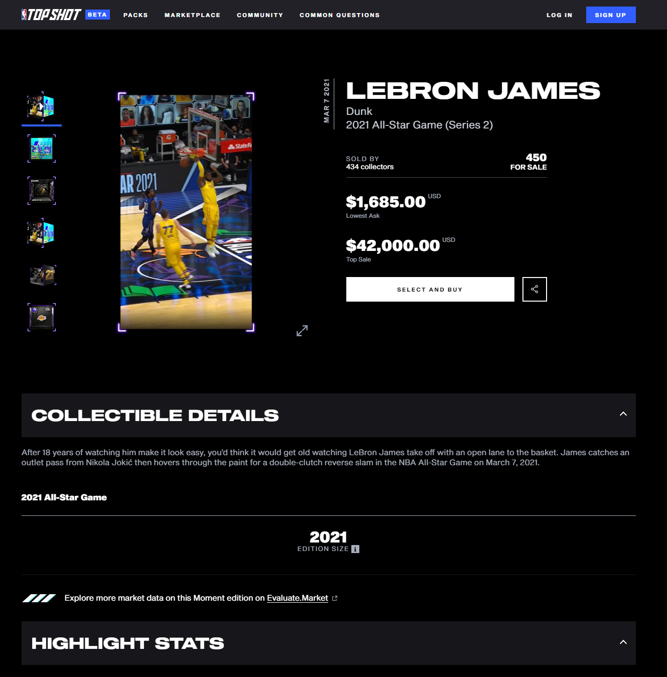NBA Top Shot Marketplace Specific Layout