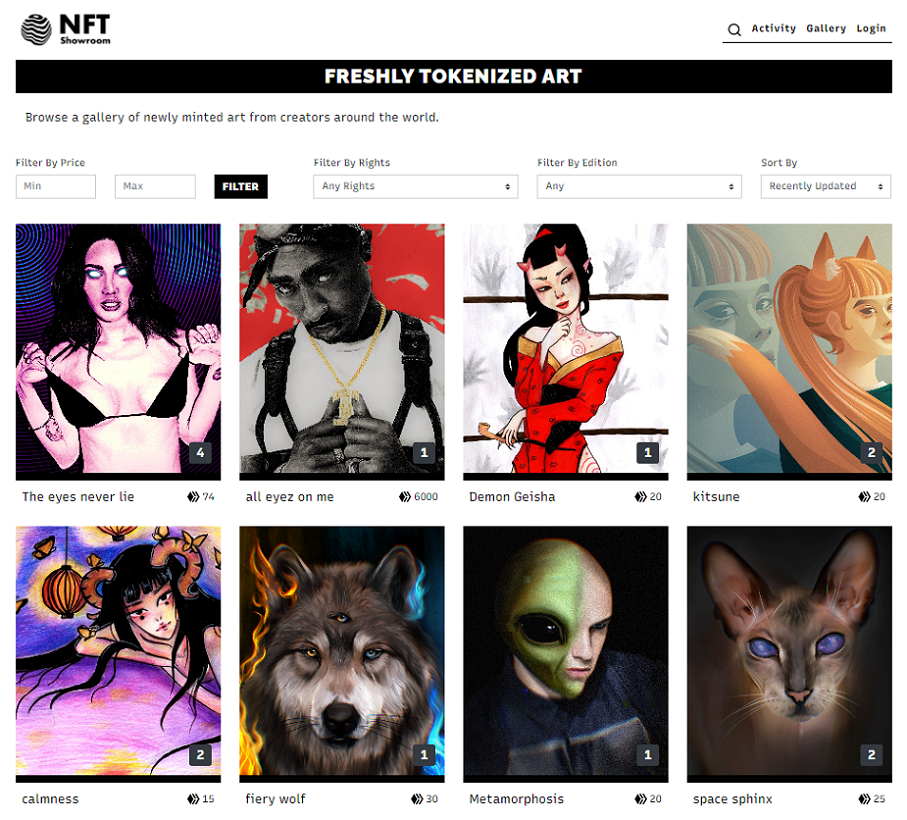 NFT Showroom General Browse Layout