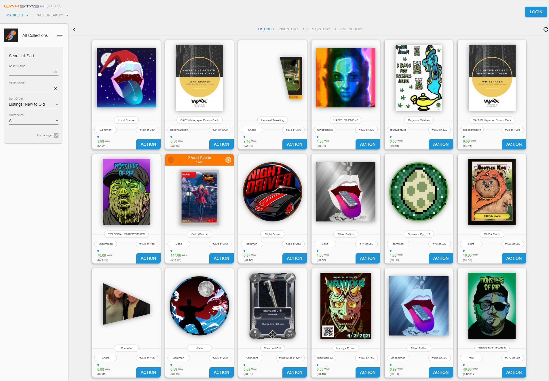 WaxStash Marketplace General Browsing Mode