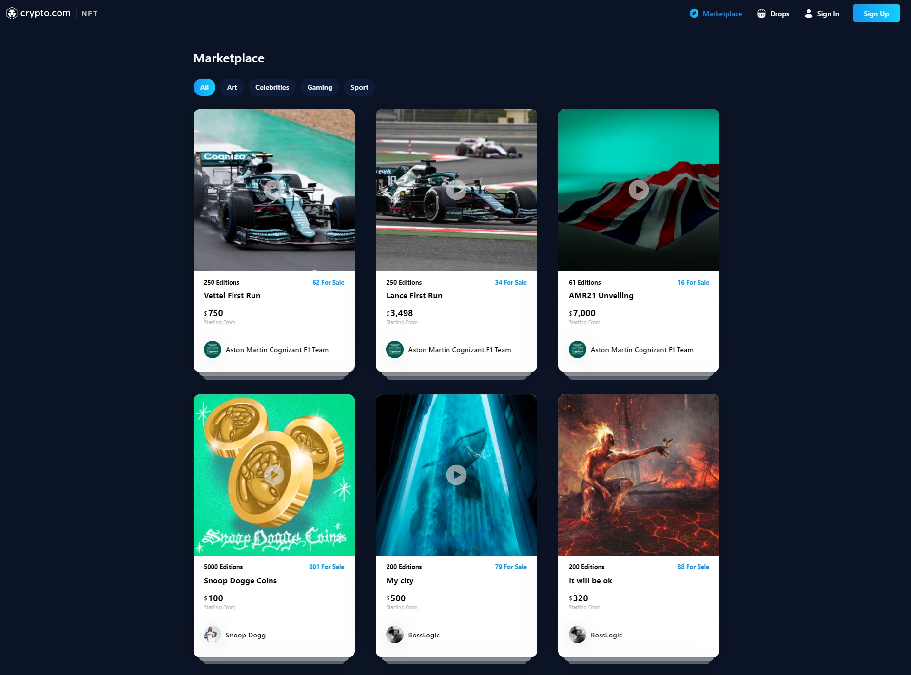 Crypto.com NFT Marketplace General Layout