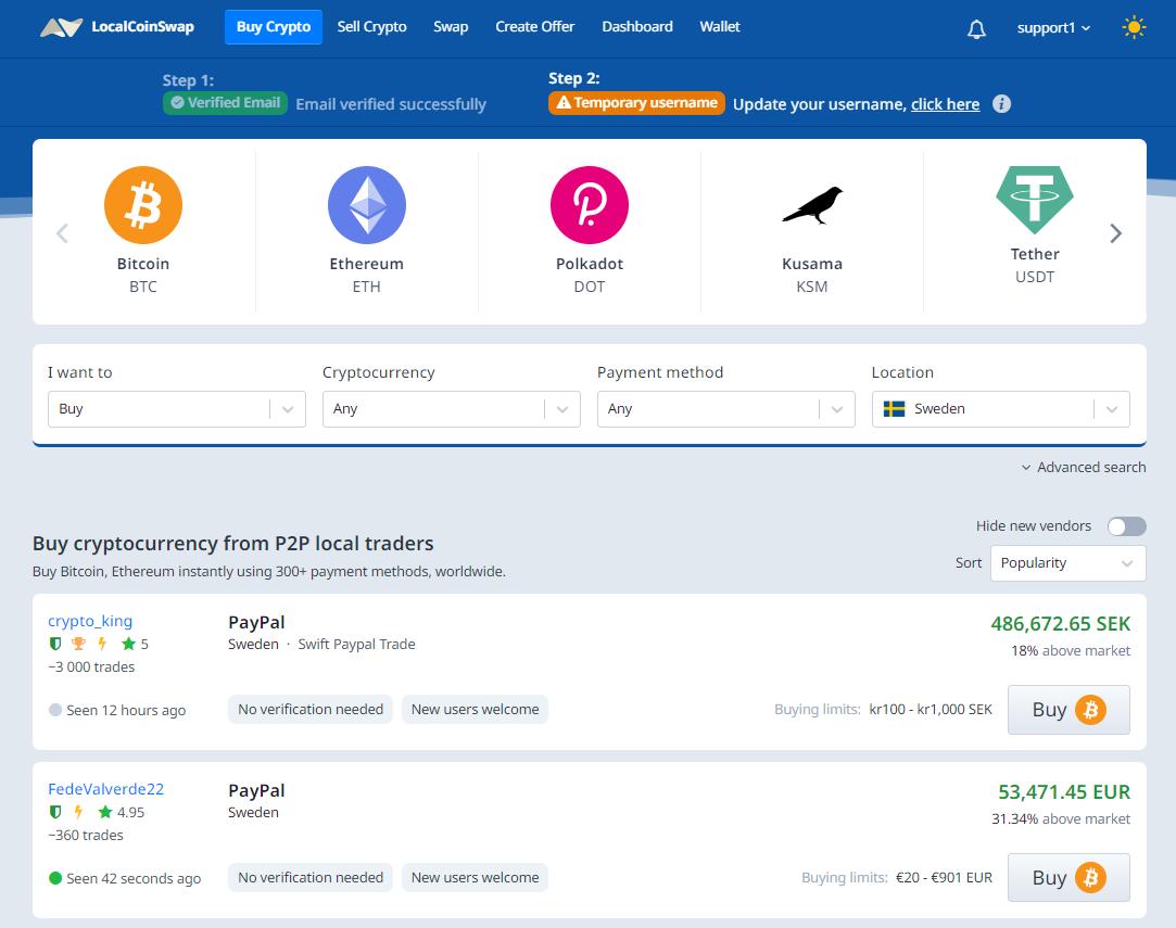 LocalCoinSwap Offer Interface