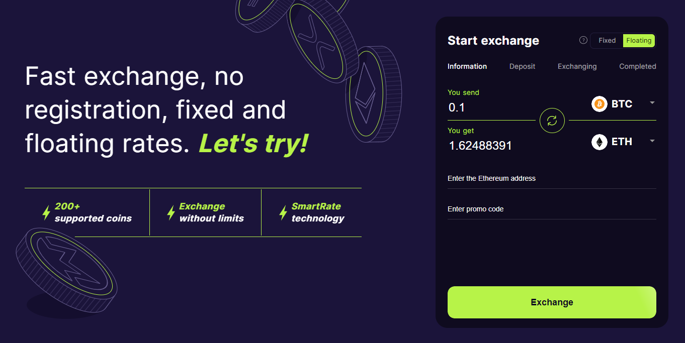 LetsExchange Swap Interface
