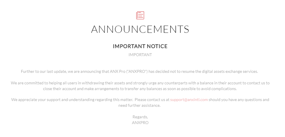 ANXPRO Closing Message