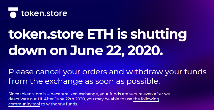Token.Store Shut Down