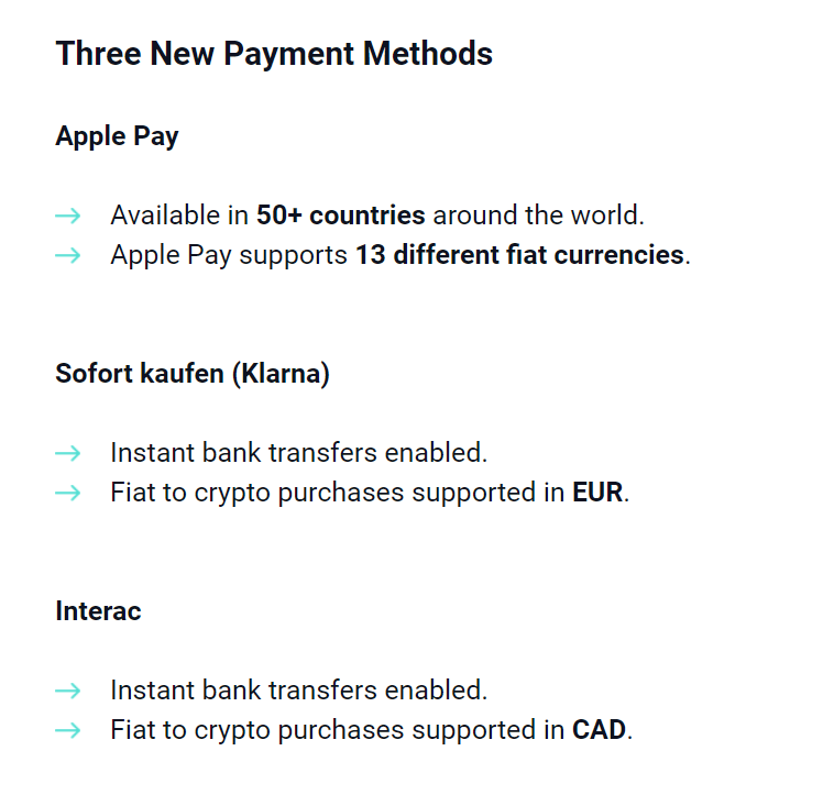 TokensNet Payment Methods
