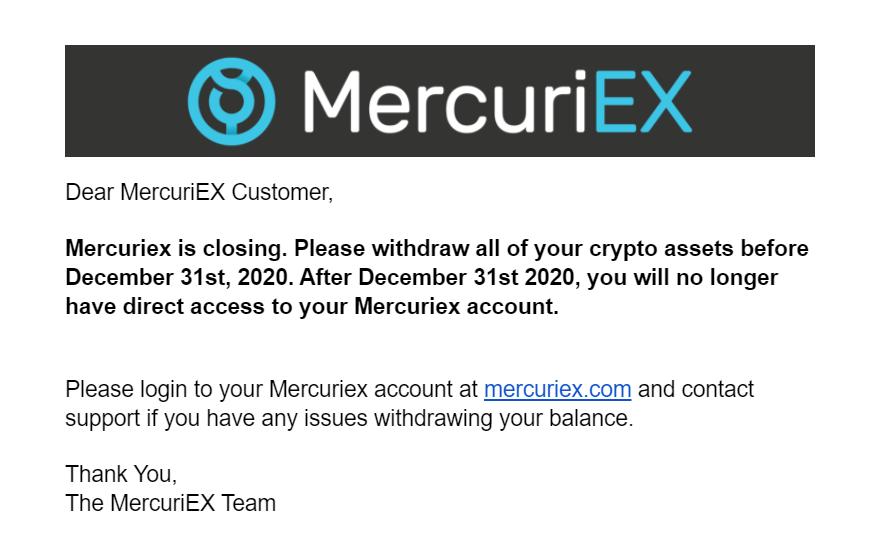 MercuriEx Closing Message