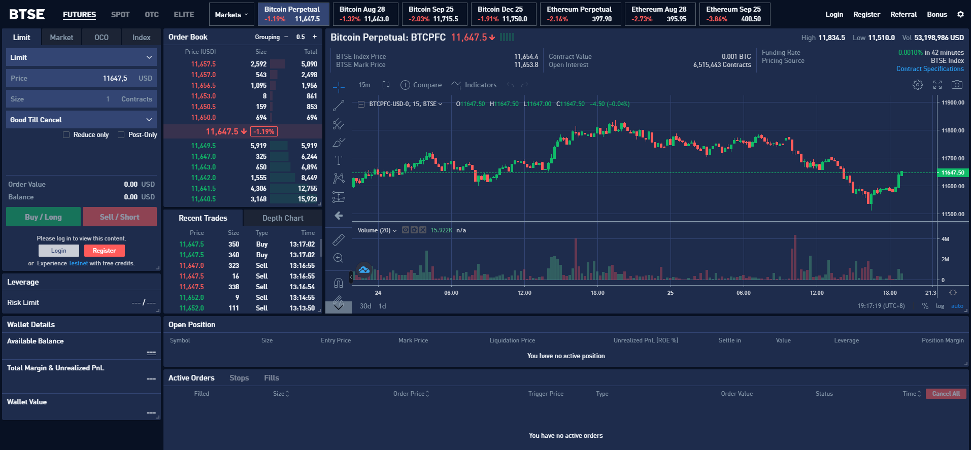 BTSE Exchange Trading View