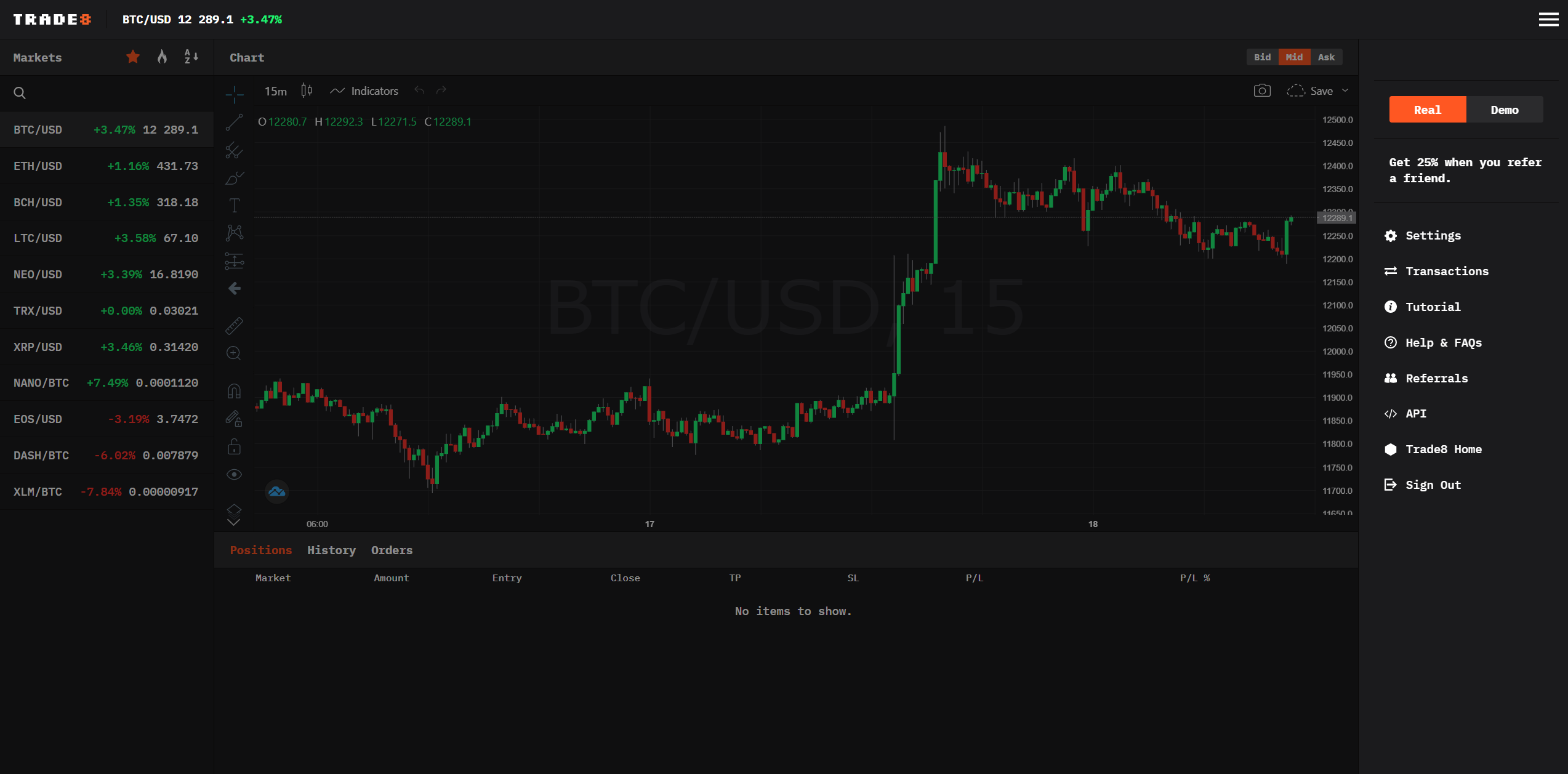 Trade8 Trading View