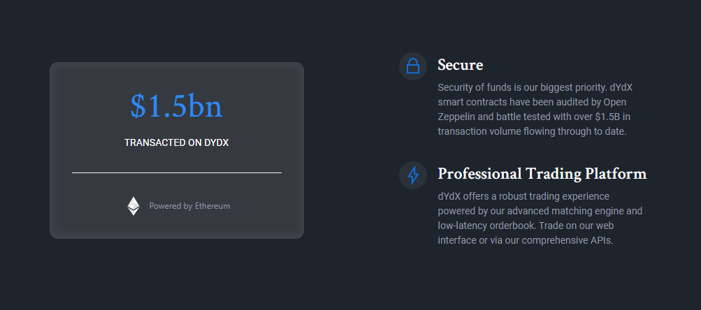 dYdX Security and Trading Volume