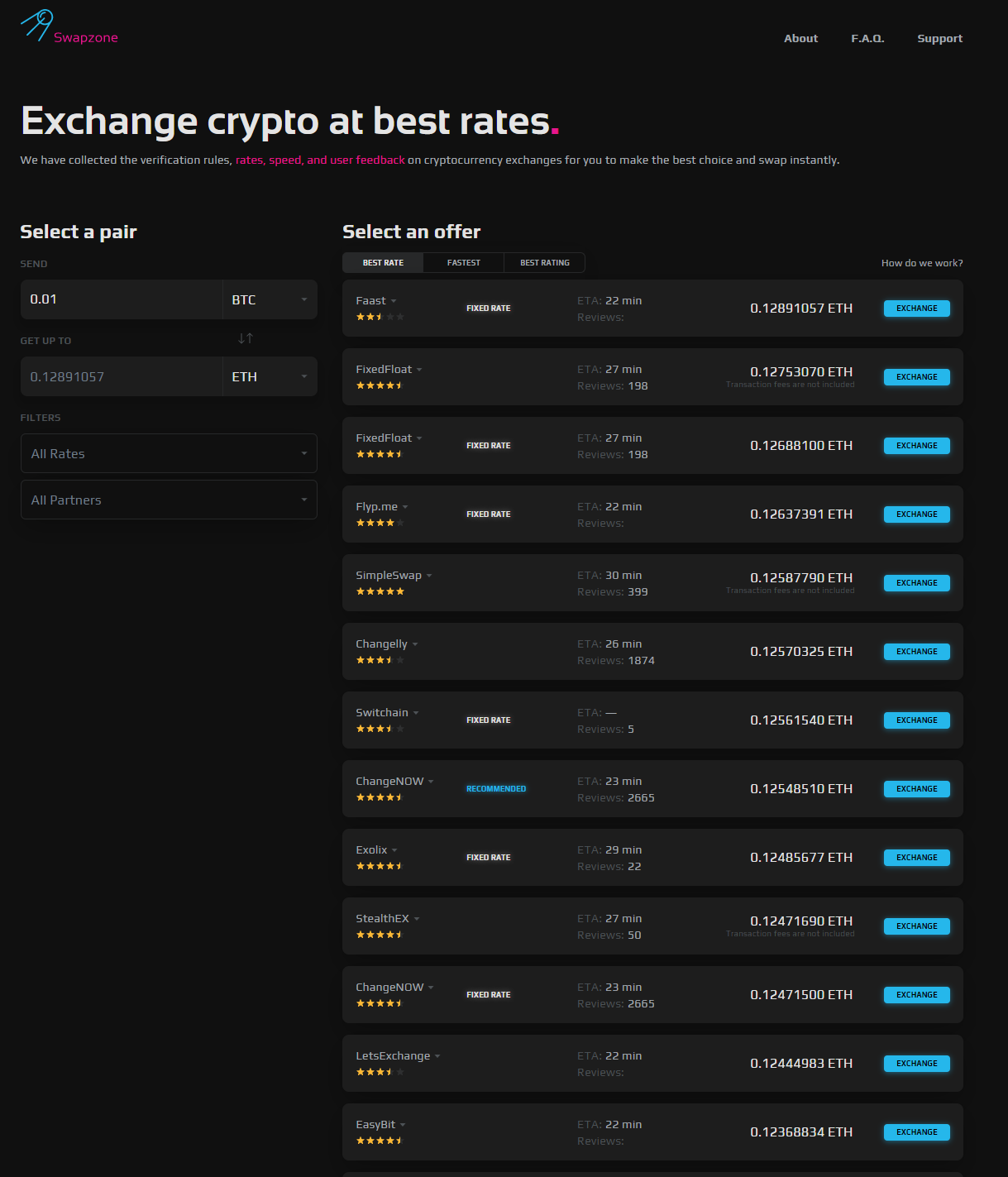 Swapzone.io Landing Page