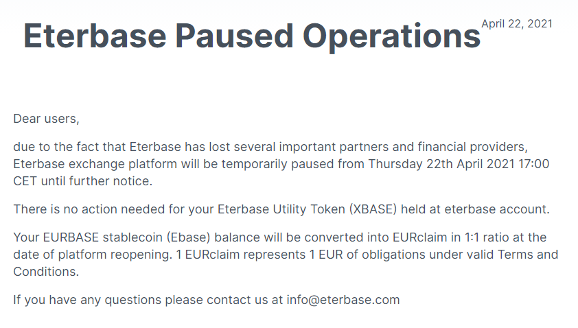 Eterbase Paused Operations