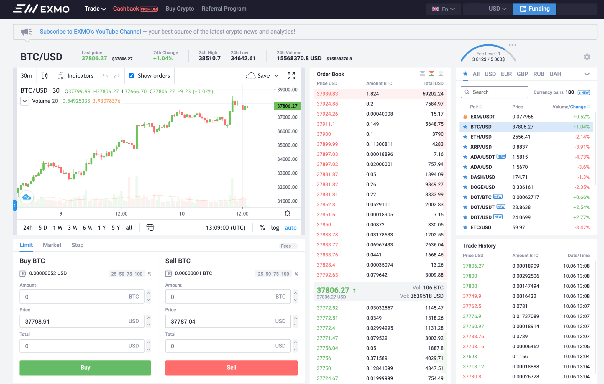 Exmo Trading View Updated