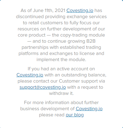 Covesting Dead Message