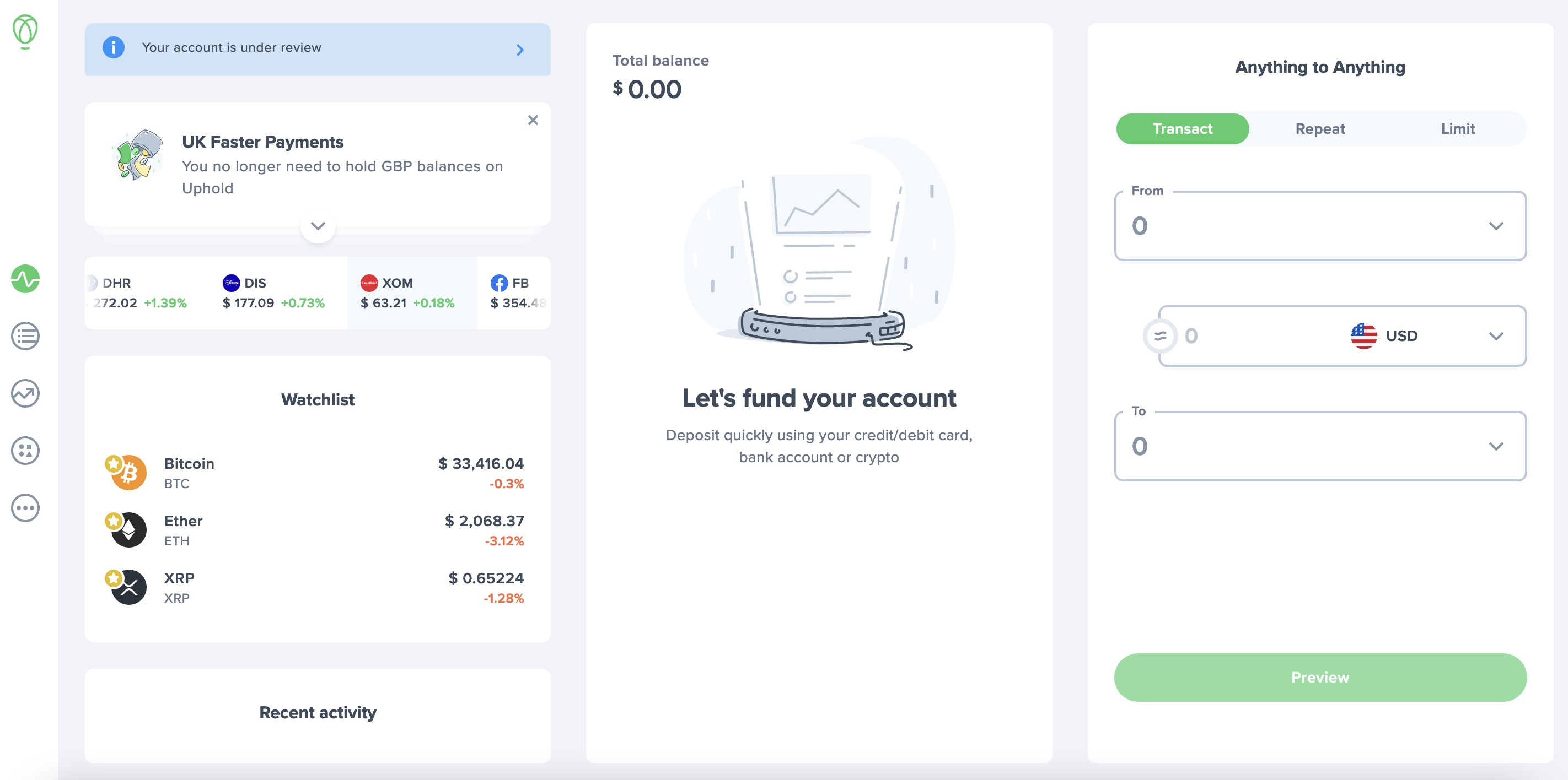 Uphold Exchange New Trading View