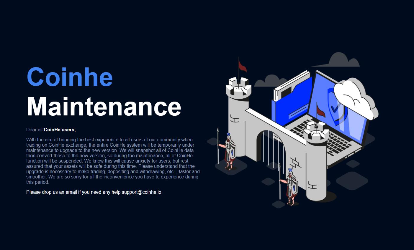 Coinhe Maintenance Message
