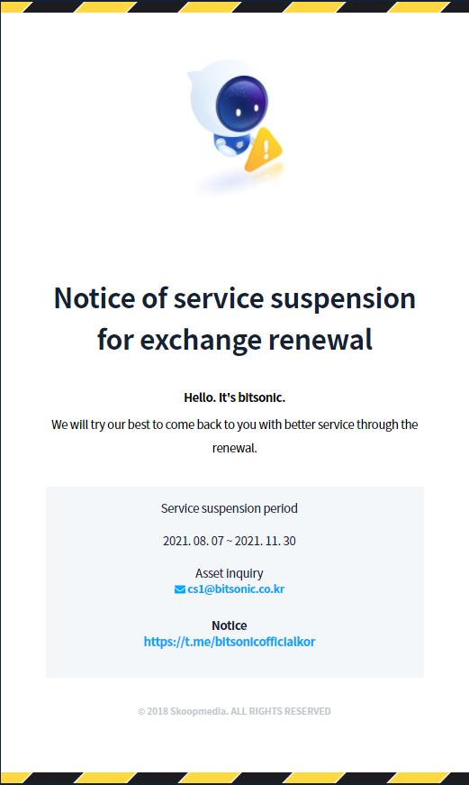 Bitsonic Service Suspension