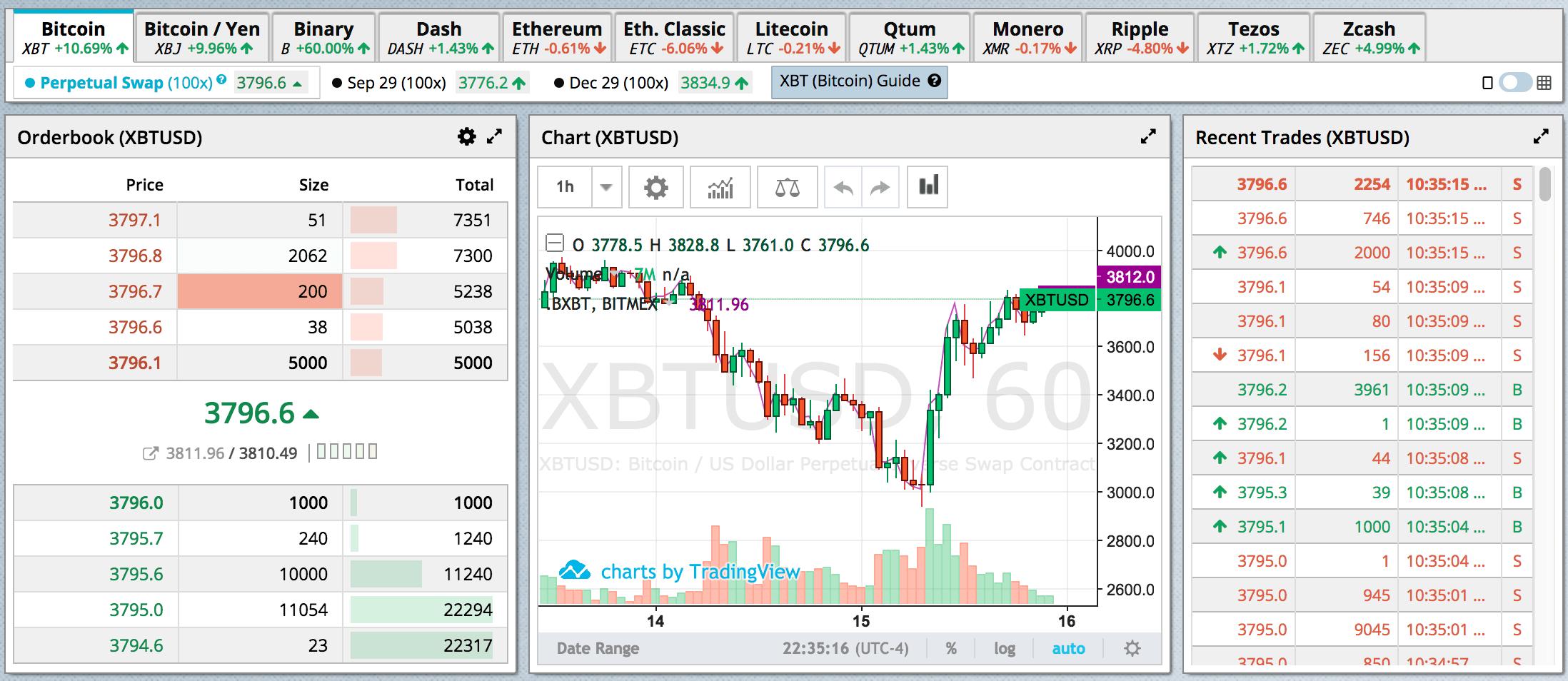 BitMEX Trading View
