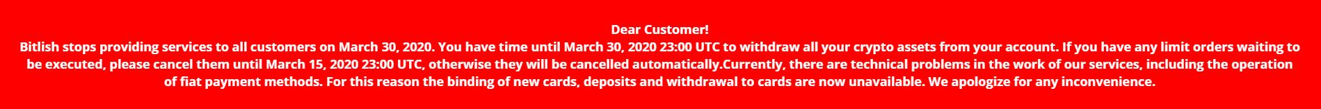 Bitlish Closing Message