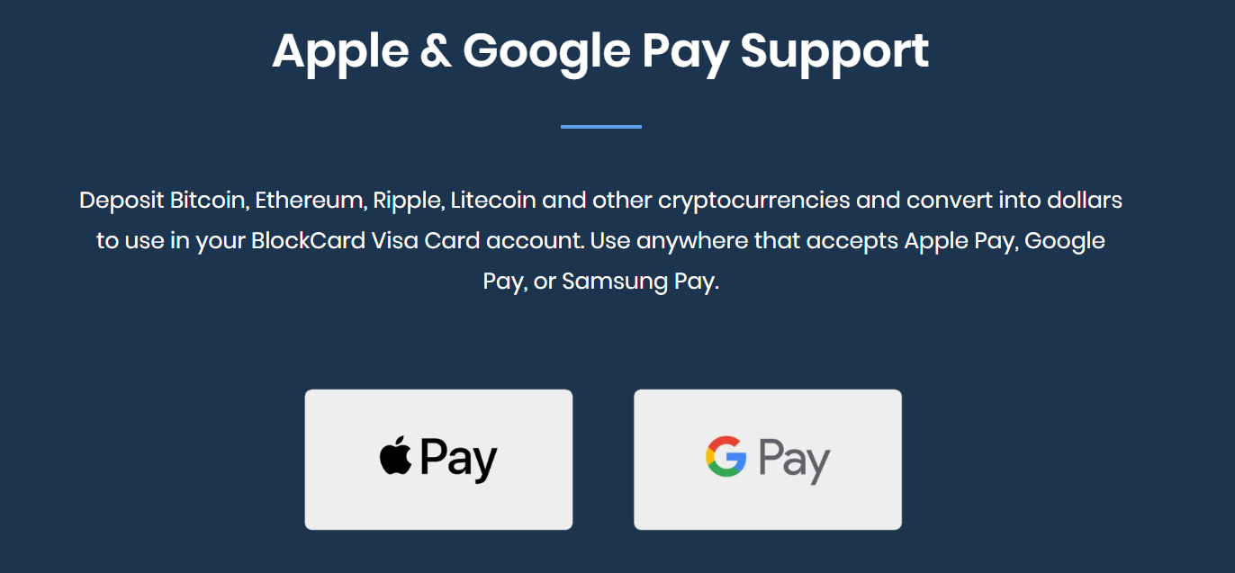 Blockcard Apple Pay Etc.