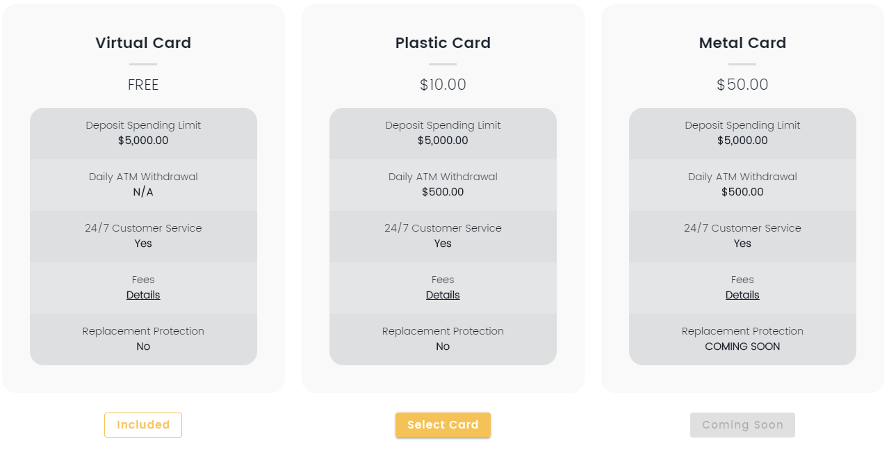 Blockcard Different Card Types