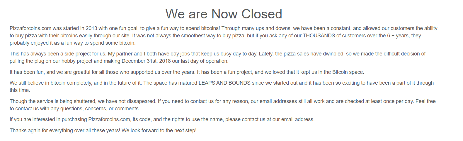 Pizzaforcoins Closing
