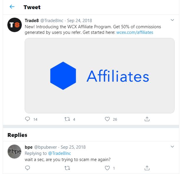 Trade8 Scam Twitter